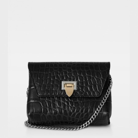 DECADENT Cleva Small Pouch, Croco Black